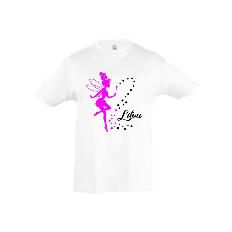 Tee shirt enfant fée prénom personnalisé ref 1