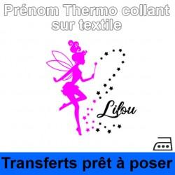 Sticker fée Prénom fille personnalisé thermocollant sur textile