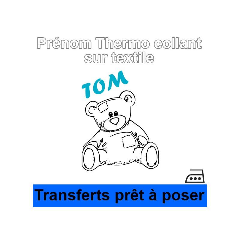 Stickers textile Sticker nounours Prénom garçon personnalisé thermocollant