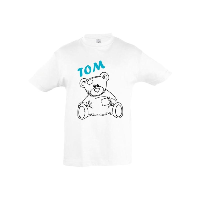 Tee shirt nounours ourson prénom personnalisé ref 2
