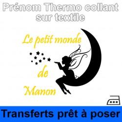 Sticker fée Prénom fille personnalisé ref 4 thermocollant sur textile