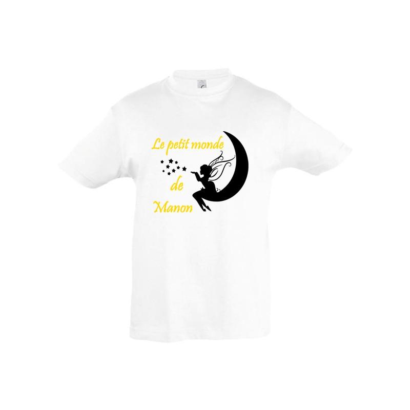 Tee shirt fée prénom personnalisé ref 4 texte or métalisé
