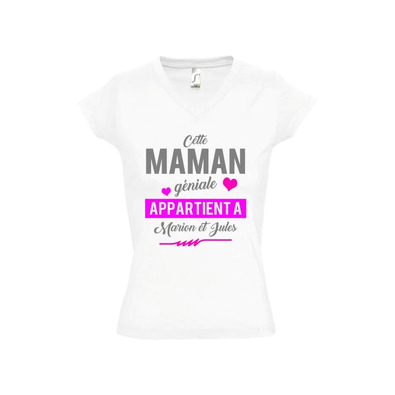 T shirt Cette Maman géniale appartient à prénom(s) à personnaliser