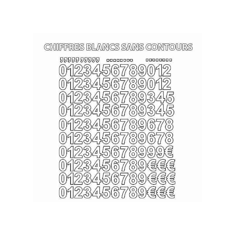 Chiffres thermocollants set de numéros hauteur 2 cm police arial