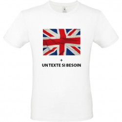Tee shirt Angleterre avec le drapeau anglais vintage + texte à personnaliser