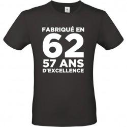 T shirt Anniversaire fabriqué en... 20 ans, 30 ans, 40 ans, 50 ans, 60 ans et plus personnalisable