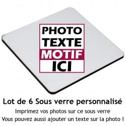 Lot de 6 sous verre carré à personnaliser avec votre photo et message 9x9 cm