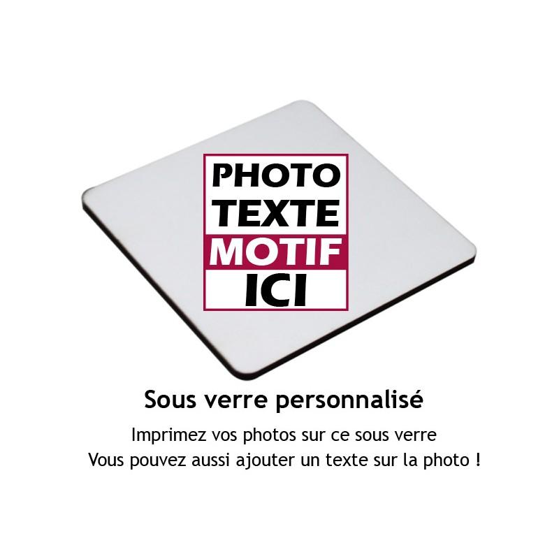 Sous verre carré à personnaliser avec votre photo et message 9x9 cm