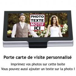 Porte carte de visite à personnaliser avec votre photo et message couleur argent et noir