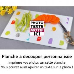 Planche à découper en verre 20*28.5cm à personnaliser avec votre photo et message