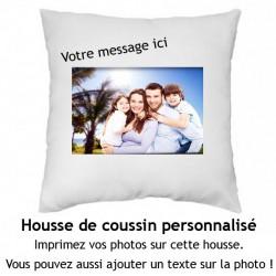 Housse de coussin carré 40x40cm polyester toucher doux à personnaliser avec votre photo et message