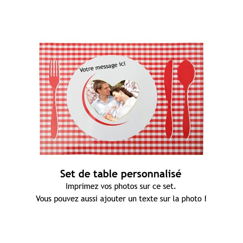 4 sets de table blancs brillants 28.5x39.5cm à personnaliser avec votre photo et message
