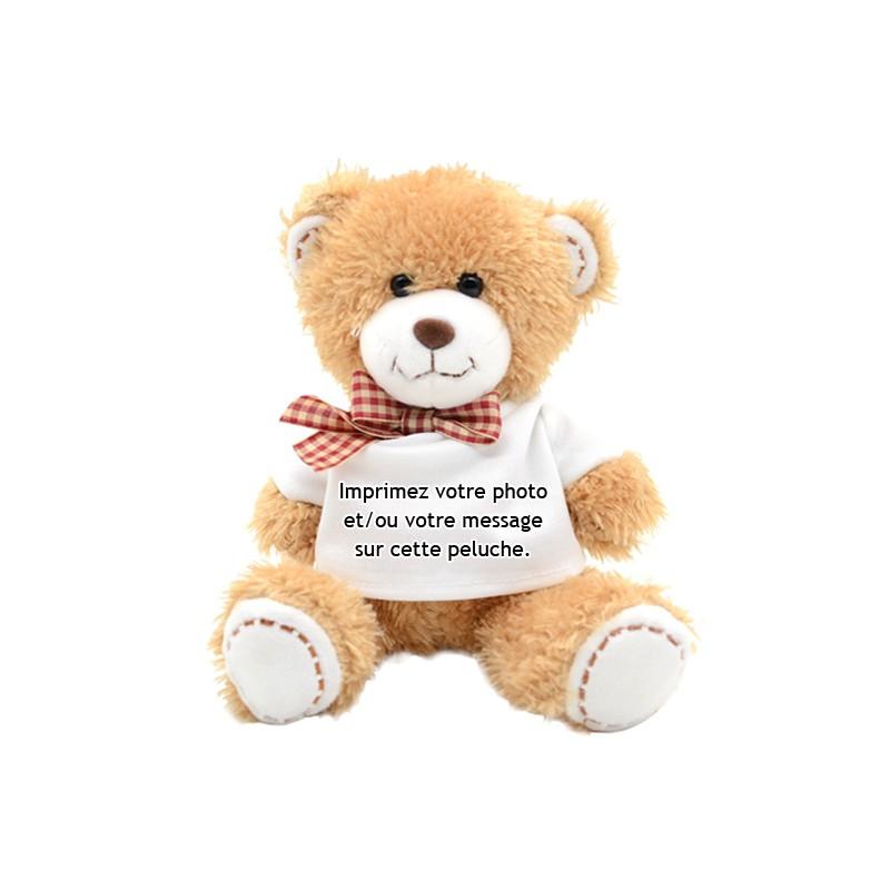 Peluche Ours brun avec son t-shirt à personnaliser avec votre photo et message
