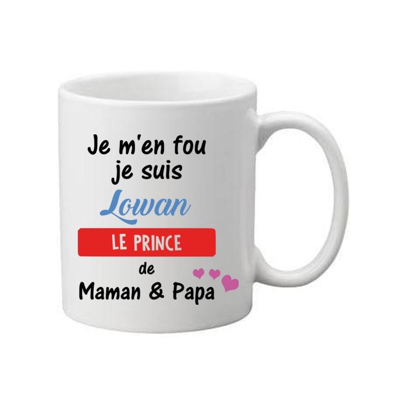 Mug Blanc à personnaliser avec un prénom je m'en fou je suis une prince de maman et papa