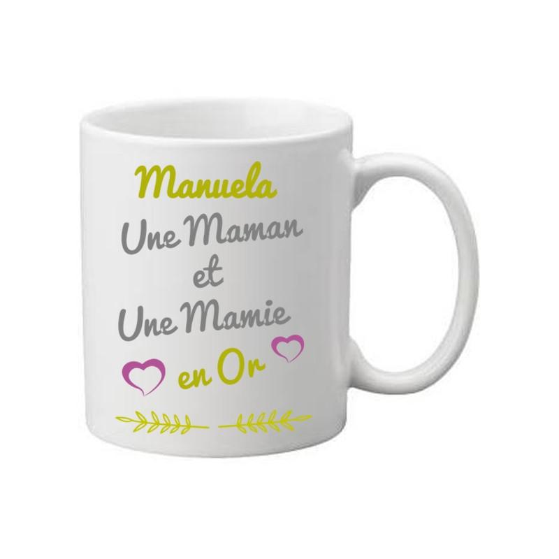 Mug blanc à personnaliser avec le prénom: Une maman et une mamie en or