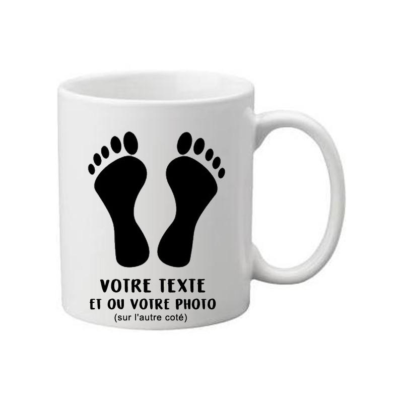 Mug Blanc pied noir à personnaliser avec texte et ou photo