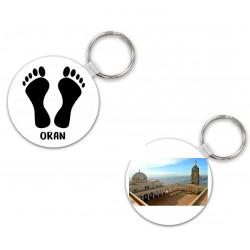 Porte clés pied noir avec texte et photo à personnaliser en bois rond