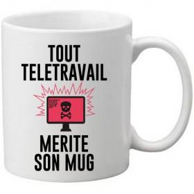 Mug blanc Tout télétravail merite son mug