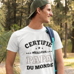 T shirt Papa Certifié meilleur papa du monde