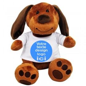 Peluche chien avec son t-shirt à personnaliser