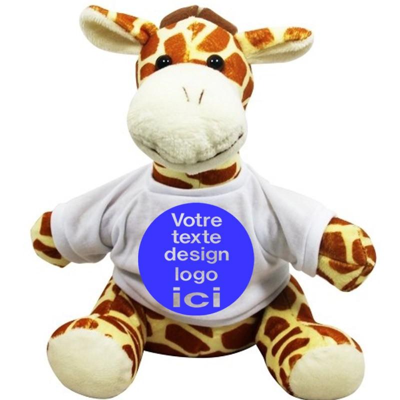 Peluche girafe 22 cm avec son t-shirt à personnaliser