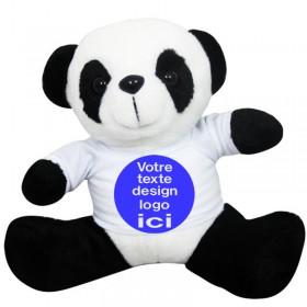 Peluche panda 19 cm avec son t-shirt à personnaliser