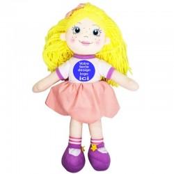 Peluche poupée blonde 35 cm avec sa robe à personnaliser