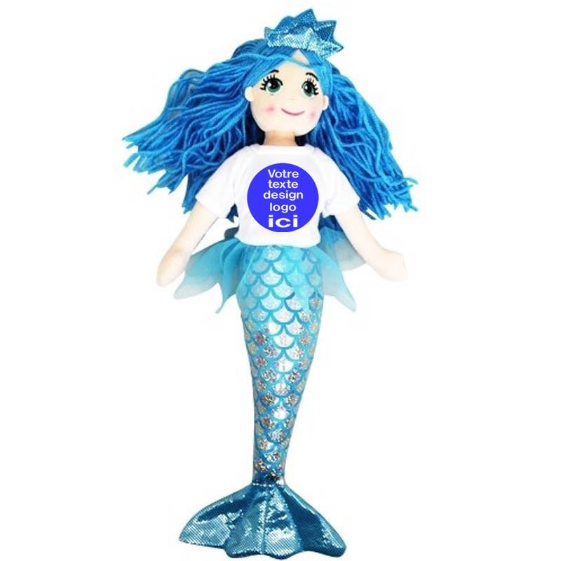 Peluche sirène bleue 45 cm avec son t shirt à personnaliser
