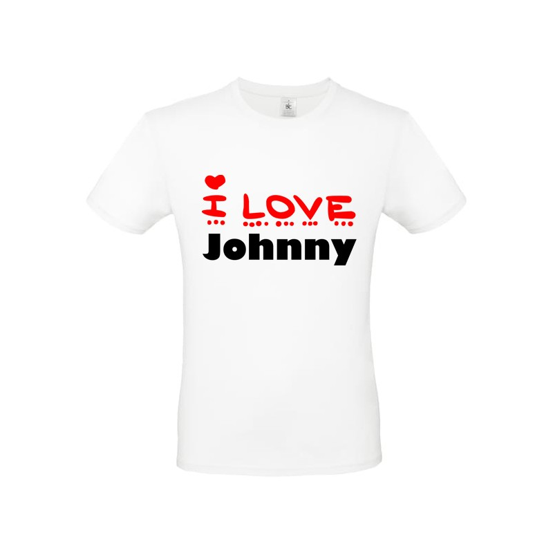 Tee shirt i love Johnny ou texte personnalisable