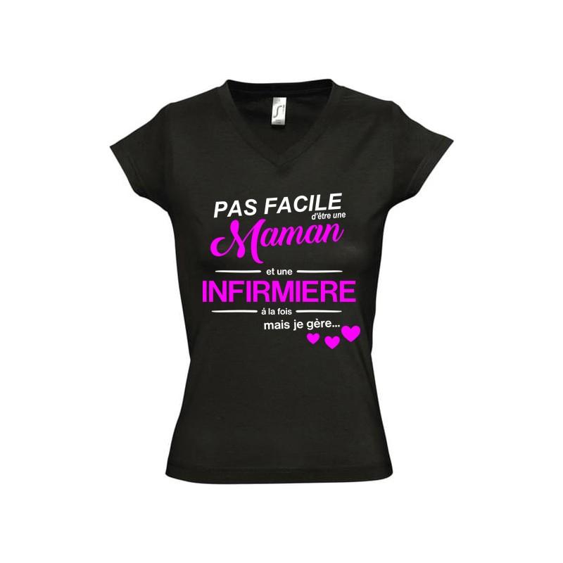 Tee shirt Pas facile d'être une maman et une...