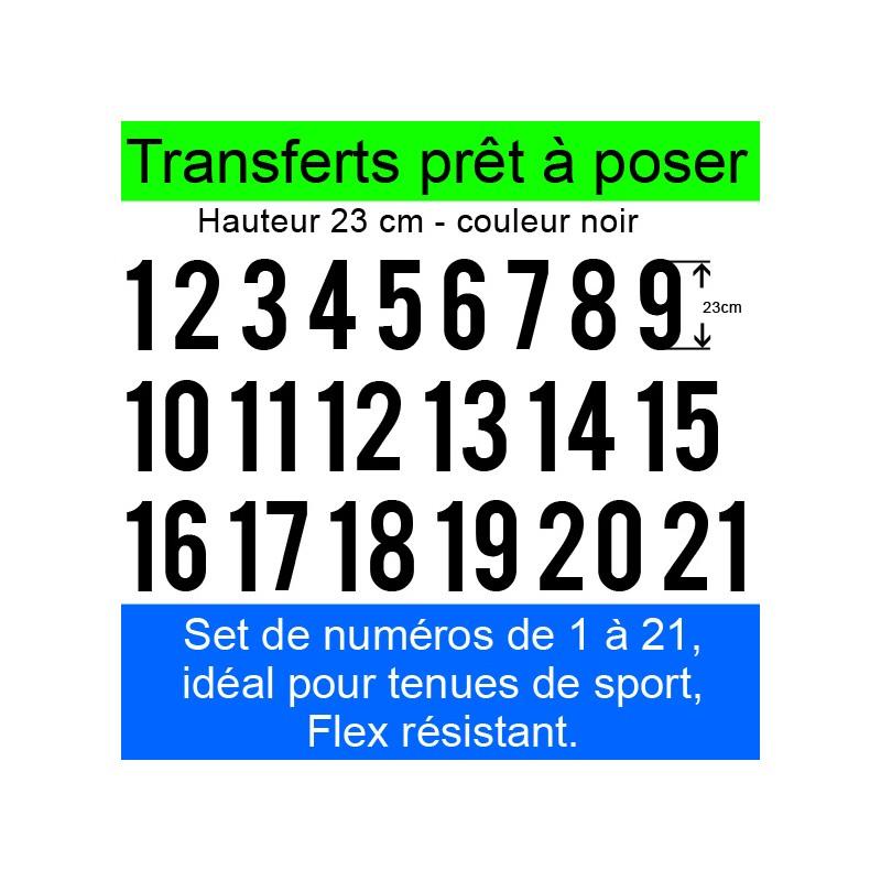 Transferts prêt à poser set de numéros pour maillots de 1 à 21 hauteur 23 cm