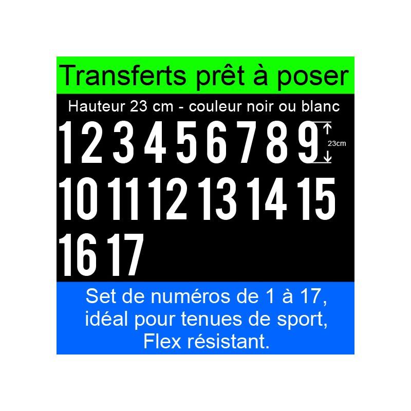 Transferts prêt à poser set de numéros pour maillots de 1 à 17 hauteur 23 cm
