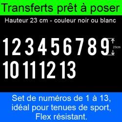 Transferts prêt à poser set de numéros pour maillots de 1 à 13 hauteur 23 cm