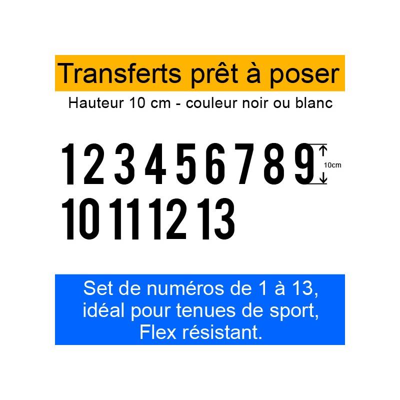 Transferts prêt à poser set de numéros pour maillots de 1 à 13 hauteur 10 cm