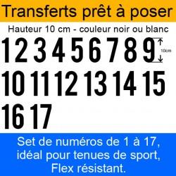 Transferts prêt à poser set de numéros pour maillots de 1 à 17 hauteur 10 cm