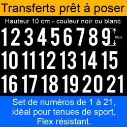 Transferts prêt à poser set de numéros pour maillots de 1 à 21 hauteur 10 cm