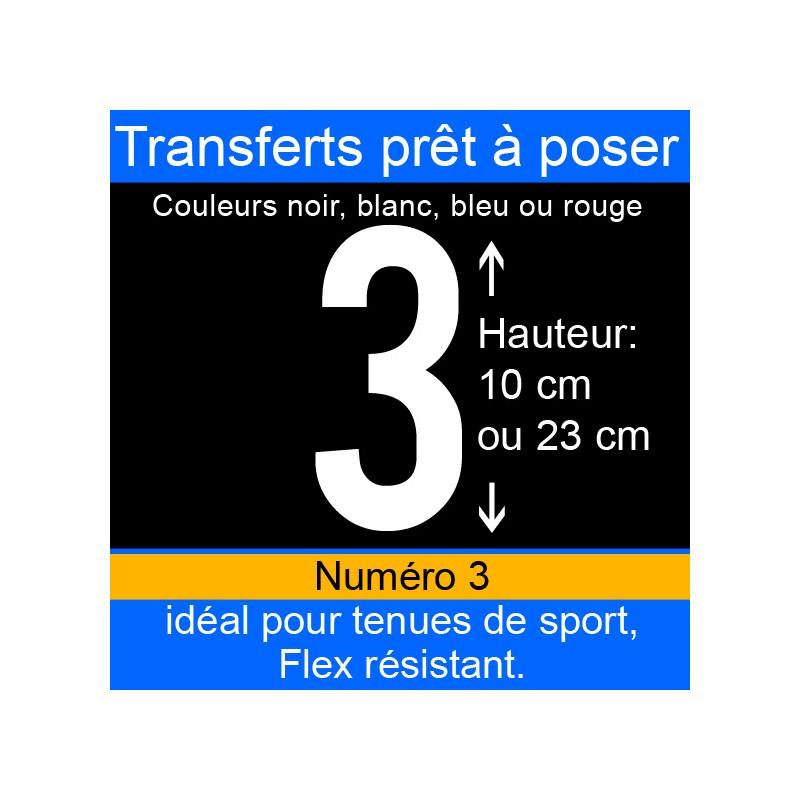 Transfert prêt à poser numéro 3 hauteur 10 cm ou 23 cm