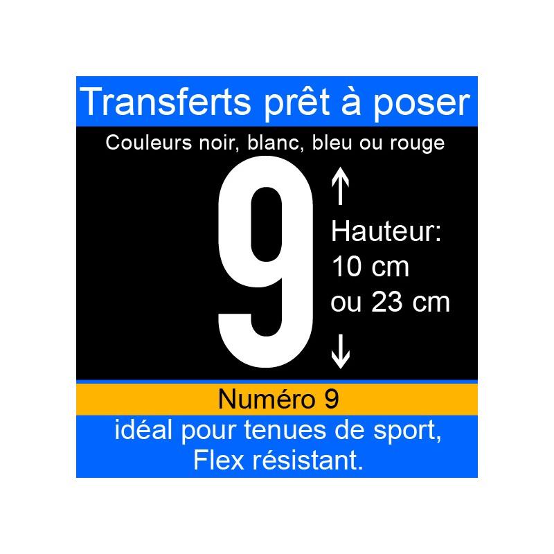 Transfert prêt à poser numéro 9 hauteur 10 cm ou 23 cm