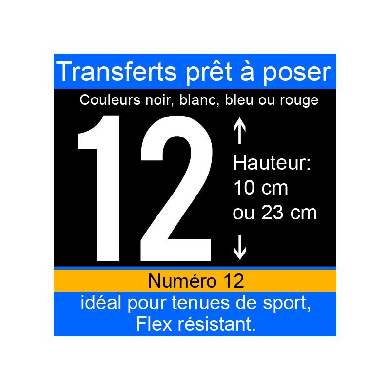 Transfert prêt à poser numéro 12 hauteur 10 cm ou 23 cm