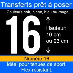 Transfert prêt à poser numéro 16 hauteur 10 cm ou 23 cm