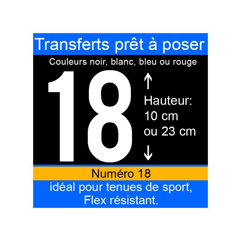 Transfert prêt à poser numéro 18 hauteur 10 cm ou 23 cm