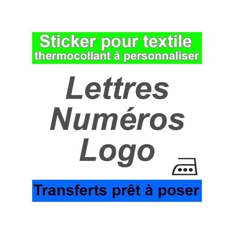 Stickers Transferts pour textile prêt à poser Lettres, numéros, logo